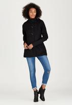 Brave Soul - Hooded Duffle Coat Black