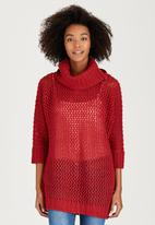 Brave Soul - All Over Stitch Cowl Neck Jumper Red