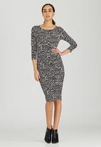 edit - Lined Dress with Side Ruching Black and White