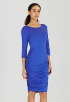 edit - Lined Dress with Side Ruching Blue