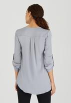 edit - Utility Detail Zip Blouse Grey