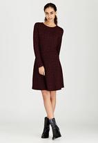 Brave Soul - Long Sleeve Jacquard Dress Dark Red