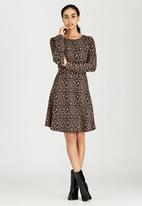 Brave Soul - Long Sleeve Jacquard Dress Mid Brown