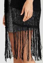 Brave Soul - Edge To Edge Tassel Hem Kimono Cardigan Black