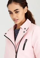 Brave Soul - Leather-look Biker Jacket Pale Pink