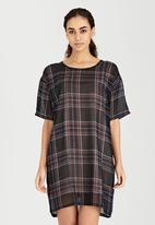 Brave Soul - Longer Length Check T-Shirt Dress Black