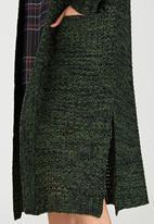 Brave Soul - Open Front Longline Cardigan Dark Green