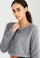 Brave Soul - Fluffy Cropped Knit Grey
