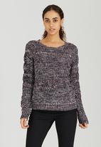 Brave Soul - Knit with Turn Back Cuff Detail Black