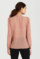 Brave Soul - Sheer Neck Tie Detail Blouse Pale Pink