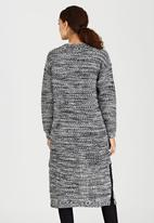 Brave Soul - Open Front Longline Cardigan Black and White