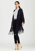 Brave Soul - Batwing All Over Stitch Cardigan Navy