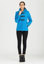 Brave Soul - Wool-like Hooded Duffle Coat Blue