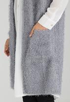 Brave Soul - Fluffy Sleeveless Longer Length Jacket Grey