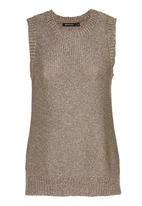 Brave Soul - Metallic Sleeveless Knit Mid Brown