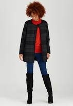 ONLY - Anni Checked Wool-like Coat Dark Grey