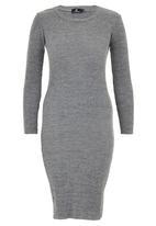 STYLE REPUBLIC - Rib Midi Jersey Dress Mid Grey
