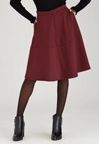 STYLE REPUBLIC - Tiered Midi Skirt Dark Red