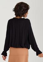 c(inch) - Peasant Detail Blouse Black