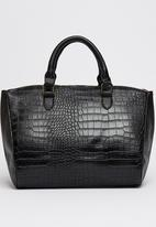 London Hub - Crocodile Print Tote Bag with Gold Chain Detail Black