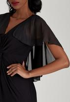 ELIGERE - V-neck Maxi Dress with Knot Detail Black