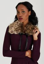 ELIGERE - Faux Fur Capelet Brown/Black