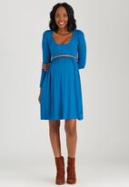 Cherry Melon - Scoop-Neck Long Sleeve Dress Mid Blue