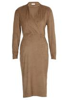 adam&eve; - Yoshe Suede-like Wrap Front Dress Mid Brown