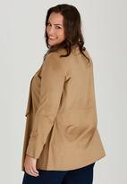 edit Plus - Suede Look Waterfall Jacket Tan