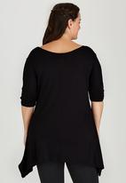 STYLE REPUBLIC PLUS - Cold Shoulder T-shirt with 3/4 Sleeve Black