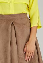 adam&eve; - Frances Suede-like Skirt Mid Brown