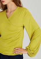 adam&eve; - Shae Wrap Knit Top Chartreuse