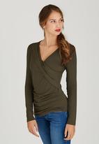 edit - Long Sleeve Wrap T-shirt Khaki Green