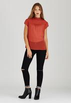 c(inch) - High Neck Blouse Mid Brown