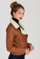 STYLE REPUBLIC - Sherpa Aviator Jacket Camel/Tan