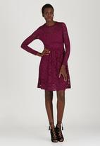 ELIGERE - Long Sleeve Lace Dress Dark Red