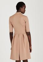 STYLE REPUBLIC - High Neck Fit & Flare Dress Stone/Beige