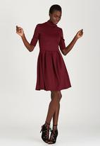 STYLE REPUBLIC - High Neck Fit & Flare Dress Dark Red