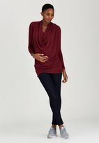 edit Maternity - Cowl Knit Tunic Red