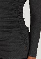 Cherry Melon - Side Gauge Long Sleeve Top Dark Grey