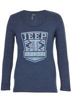 JEEP - Scoop Neck Tee Mid Blue