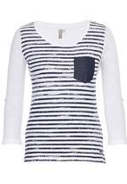 JEEP - 3/4 Sleeve Slub Printed Stripe Tee Off White