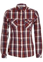 JEEP - Yarn Dyed Check Blouse Dark Red