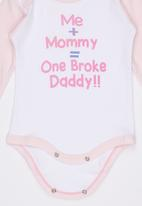 Funky Shop - Me +Mommy = One Broke Daddy Babygrow Pale Pink