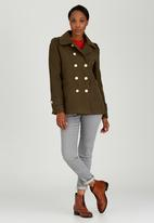 c(inch) - Piped Double Breasted Coat Khaki Green