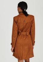 edit - Suedette Trench Coat Camel
