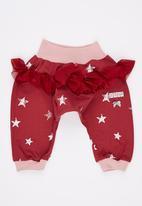 Eco Punk - Baby Girls Harem with mesh frills Dark Red