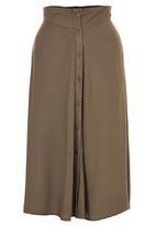 c(inch) - Flare Front Button Midi Skirt Khaki Green