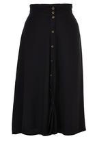c(inch) - Flare Front Button Midi Skirt Black
