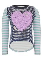 Eco Punk - Girls sweatshirt with heart embroidery Navy